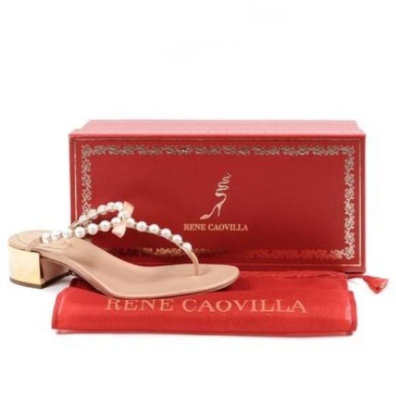 cc3664c1a42 Brand New Rene Caovilla Gold Eliza Pearl Sandals. M 5c57b185bb761556deb46afa
